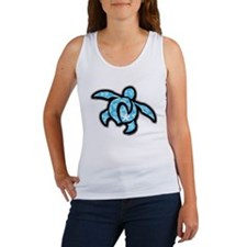 blue hawaiian print turtle Women's Tank Top