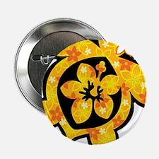 """Hawaiian print turtle in orange 2.25"""" Button"""