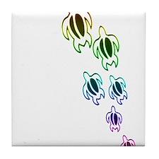 Rainbow turtles Tile Coaster