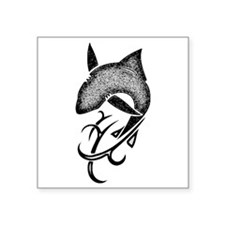 "Tribal shark black Square Sticker 3"" x 3"""