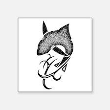 "Tribal shark black Square Sticker 3"" x 3"""
