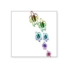 "Rainbow turtles Square Sticker 3"" x 3"""
