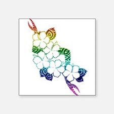 "Rainbow flowers Square Sticker 3"" x 3"""