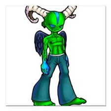 "Green demon Square Car Magnet 3"" x 3"""