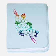 Rainbow flowers baby blanket