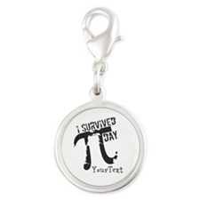 Text Option Funny Pi Day Silver Round Charm