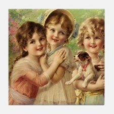 Vintage Victoria oil painting. Best o Tile Coaster