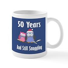 Cute 50th Anniversary Snuggly Owls Mugs