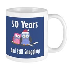 Cute 50th Anniversary Snuggly Owls Mugs