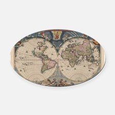 Vintage World Map 17th Century Oval Car Magnet