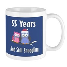 Cute 55th Anniversary Snuggly Owls Mugs