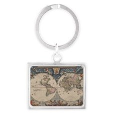 Vintage World Map 17th Century Keychains