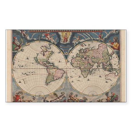 Vintage World Map 17th Century Sticker