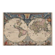 Vintage World Map 17th Century Postcards (Package