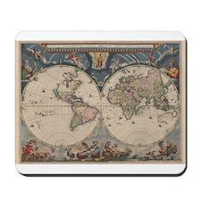 Vintage World Map 17th Century Mousepad
