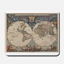 Vintage World Map 17th Century Mousepad