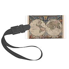 Vintage World Map 17th Century Luggage Tag