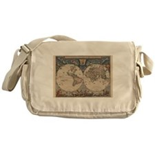 Vintage World Map 17th Century Messenger Bag