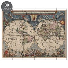 Vintage World Map 17th Century Puzzle