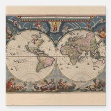 Vintage World Map 17th Century Square Car Magnet 3