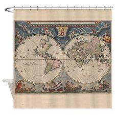 Vintage World Map 17th Century Shower Curtain