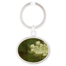 Queen Anne Lace Oval Keychain