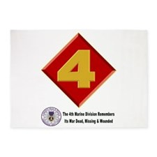 4Th Marine Div. Remembers 5'X7'area Rug