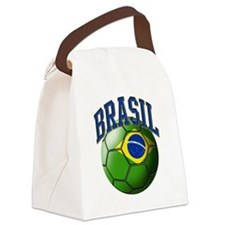 Flag of Brasil Soccer Ball Canvas Lunch Bag