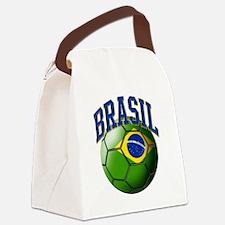 Flag of Brasil Soccer Ball Canvas Lunch Bag