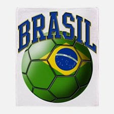 Flag of Brasil Soccer Ball Throw Blanket