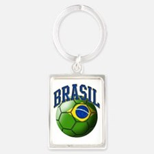Flag of Brasil Soccer Ball Portrait Keychain