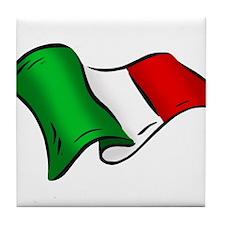 Wavy Italian Flag Tile Coaster