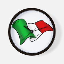 Wavy Italian Flag Wall Clock