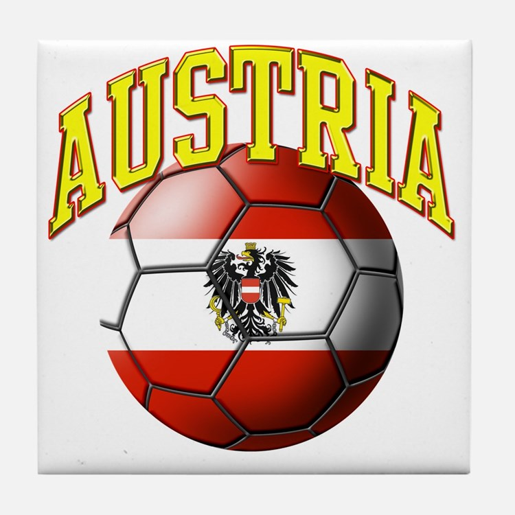 Flag of Austria Soccer Ball Tile Coaster