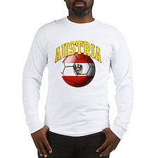 Flag of Austria Soccer Ball Long Sleeve T-Shirt