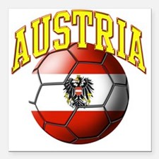 "Flag of Austria Soccer B Square Car Magnet 3"" x 3"""