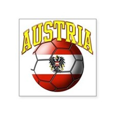 "Flag of Austria Soccer Ball Square Sticker 3"" x 3"""