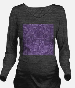 Purple Circuit Board Long Sleeve Maternity T-Shirt