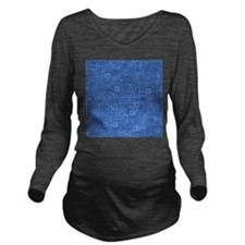 Blue Circuit Board Long Sleeve Maternity T-Shirt