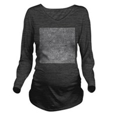 Gray Circuit Board Long Sleeve Maternity T-Shirt