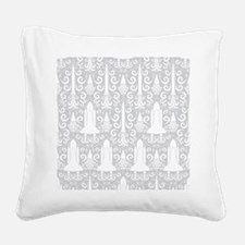 Rocket Science Damask Square Canvas Pillow