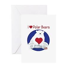 I Heart Polar Bears Greeting Cards