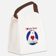I Heart Polar Bears Canvas Lunch Bag