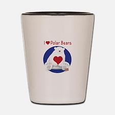I Heart Polar Bears Shot Glass