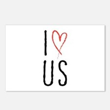 I love us text design with red heart Postcards (Pa