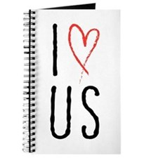I love us text design with red heart Journal