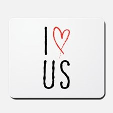I love us text design with red heart Mousepad
