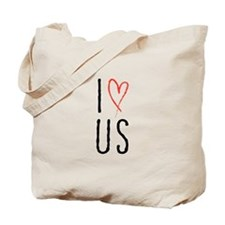 I love us text design with red heart Tote Bag