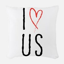 I love us text design with red heart Woven Throw P