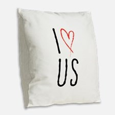 I love us text design with red heart Burlap Throw